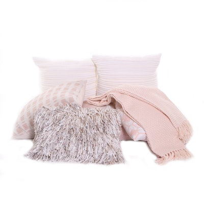 Petal Pink and Pale Beige Down-Filled Accent Pillows and Throw
