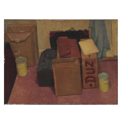 Still Life Oil Painting of Boxes and Cans, Late 20th Century
