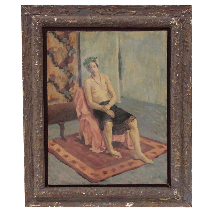 Napoleon Gorski Figural Study Oil Painting of Woman, Late 20th Century