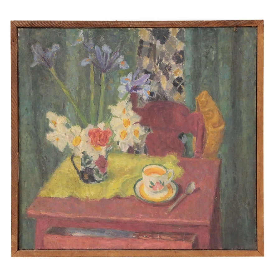 Abstract Still Life Oil Painting with Teacup, Late 20th Century