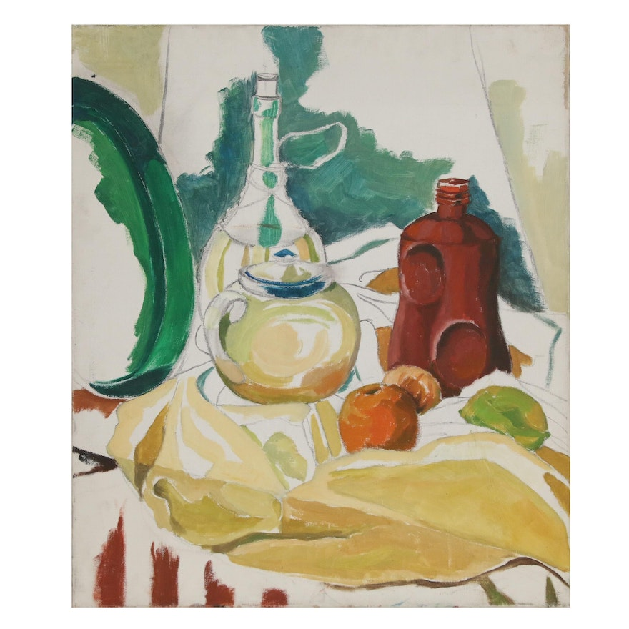 Still Life Oil Painting of Bottles with Fruit, Late 20th Century