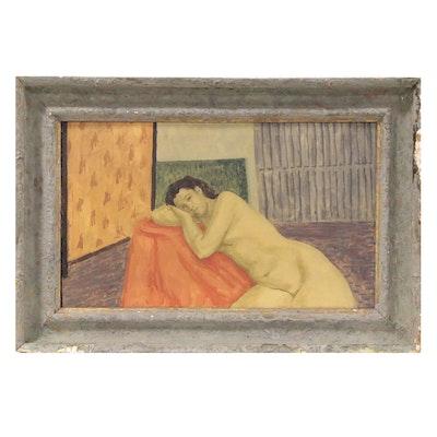 "Napoleon Gorski Oil Painting ""Green Nude"", Late 20th Century"