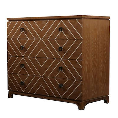 "Gabby Geometric Painted ""Terrance"" Four-Drawer Chest, Contemporary"