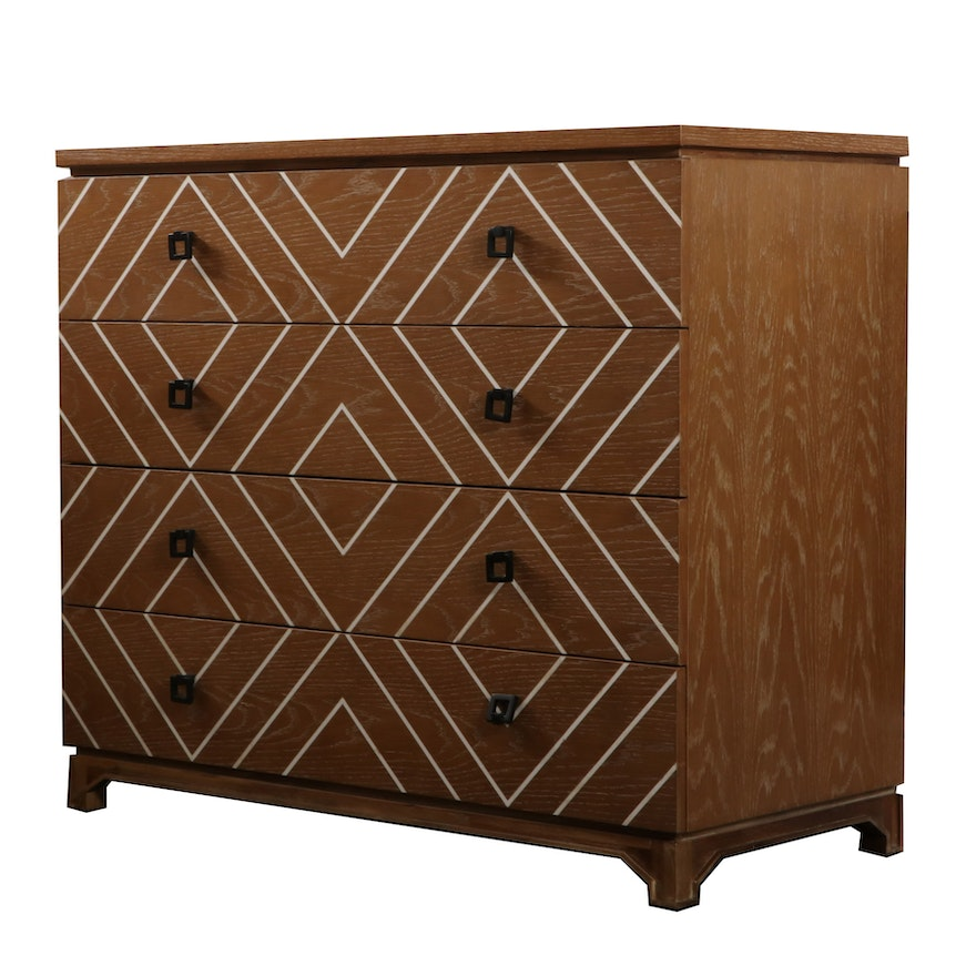 """Gabby Geometric Painted """"Terrance"""" Four-Drawer Chest, Contemporary"""