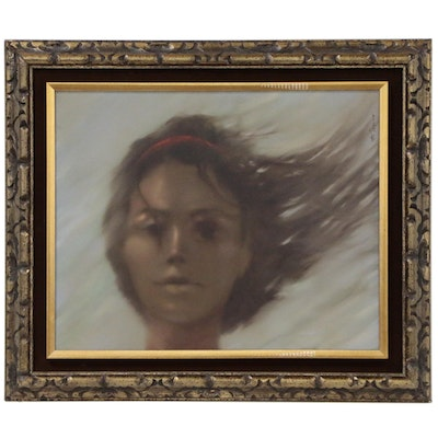 Mu Torino Oil Painting of Hazy Female Portrait, Late 20th Century