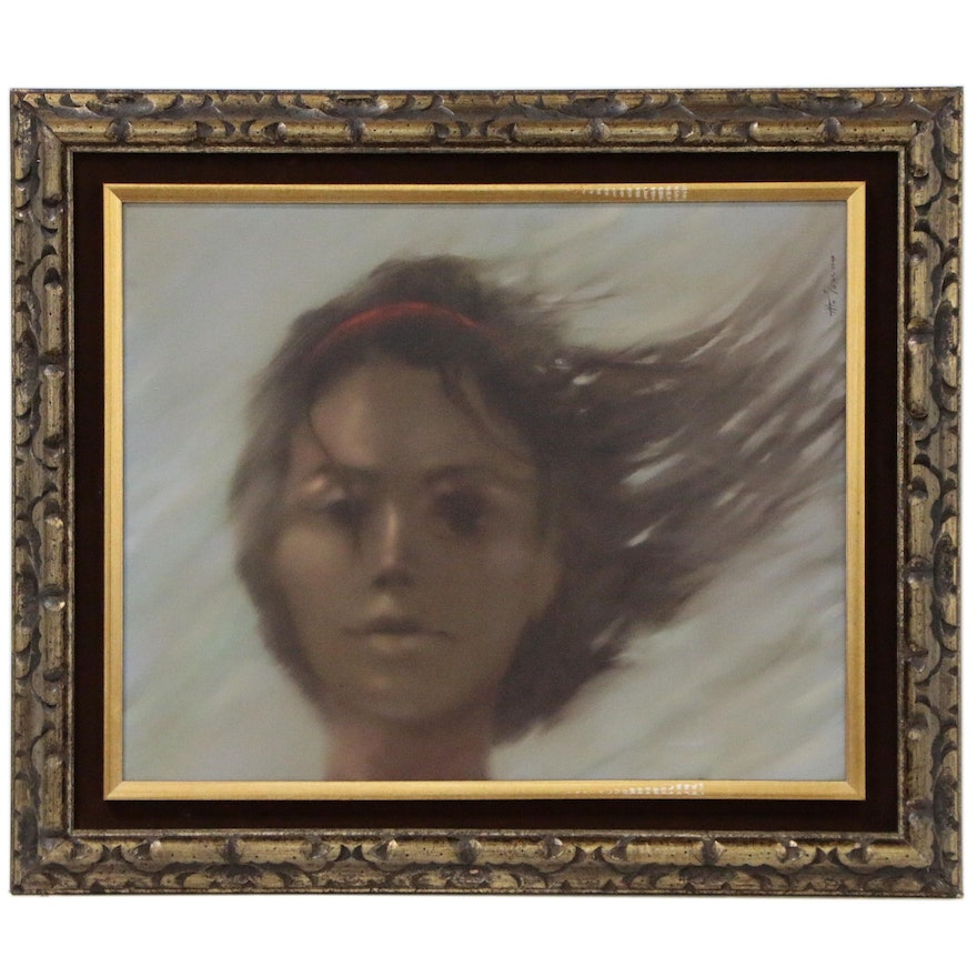 Anthony Michael Autorino Oil Painting of Hazy Female Portrait, Late 20th Century