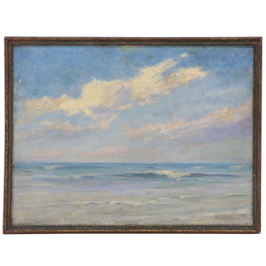 Seascape Oil Painting, Early 20th Century