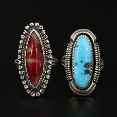 Western Sterling Silver Rings Featuring Turquoise