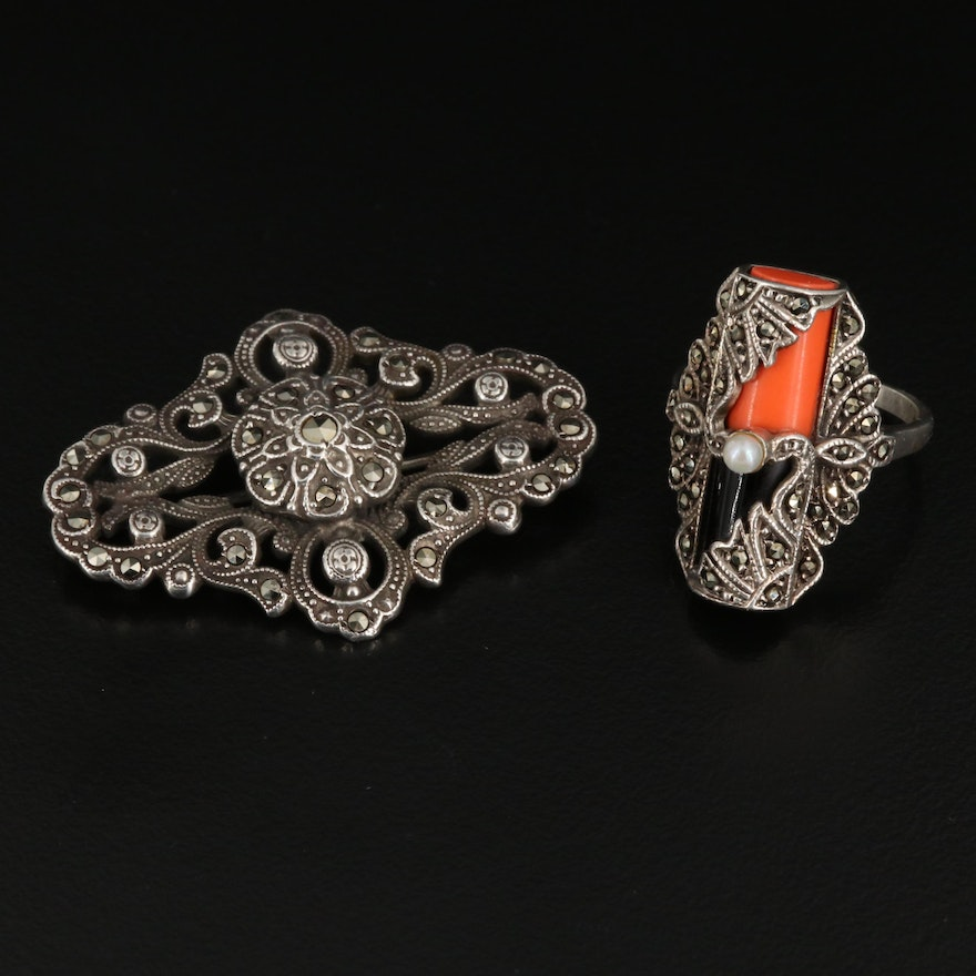 Art Deco Style Sterling Ring and Brooch with Marcasite and Pearl