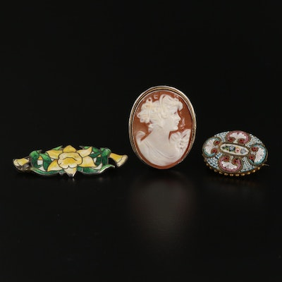 Vintage and Antique Brooches Featuring Micro Mosaic Tesserae and Cloisonné