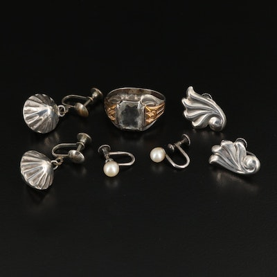 1940s Sterling Silver Earrings and Ring Including Pearls