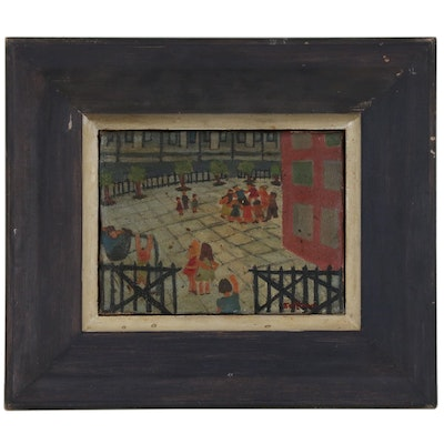 Oil Painting of Playground Scene, Late 20th Century