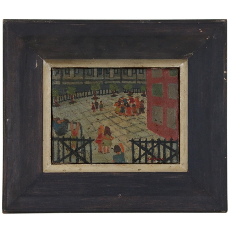 Oil Painting of Playground Scene, Late 20th Century