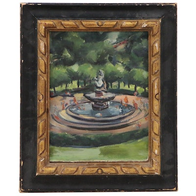 Grace Huntley Pugh Oil Painting of Fountain, Late 20th Century