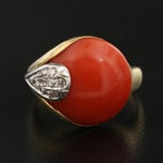 18K Coral and Diamond Asymmetrical Ring