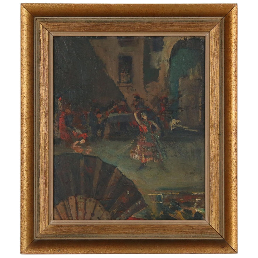 Impressionistic Figural Oil Painting, Late 20th Century