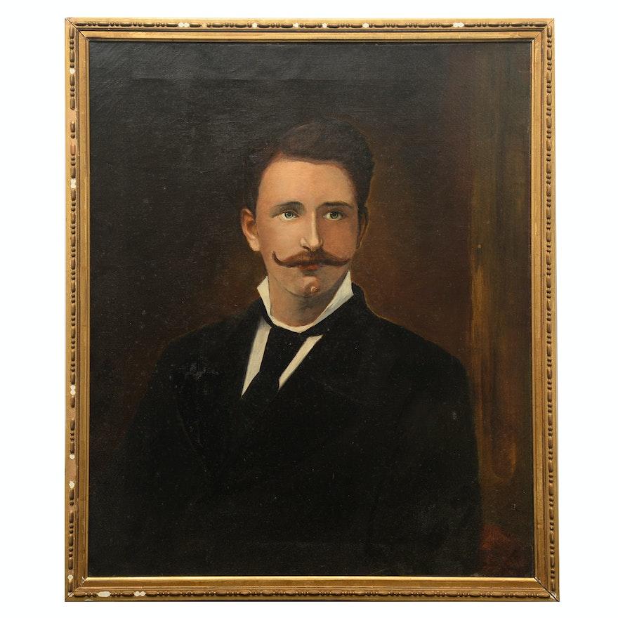 Folk Style Oil Portrait of a Gentleman, Early 20th Century