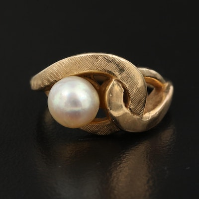 14K Pearl Ring with Florentine Finish Accent