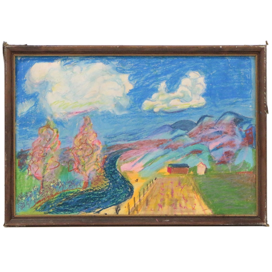 Abstract Landscape Pastel Drawing, Late 20th Century