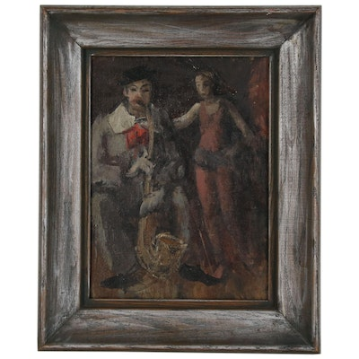 Abstract Figural Oil Painting, Mid 20th Century