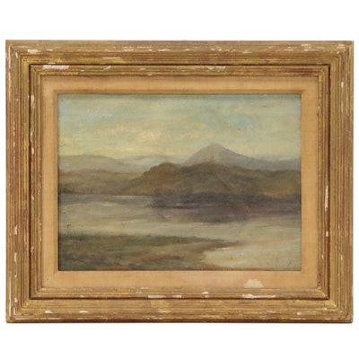 Lakeside Oil Painting with Mountains, Mid 20th Century