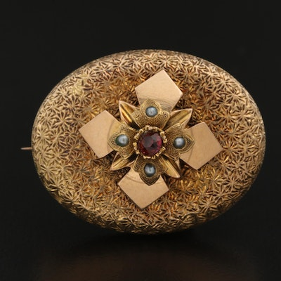 Victorian 14K Brooch with Seed Pearls and Watch Hook