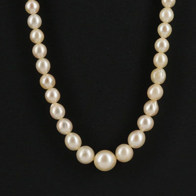 Vintage Graduated Pearl Necklace with 14K Clasp