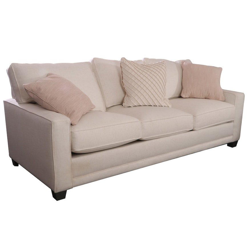 Rowe Furniture Cream Upholstered Sofa with Decorative Pillows
