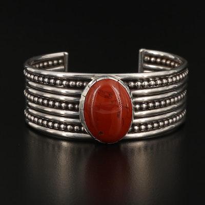 Southwestern Sterling Silver Red Jasper Cuff