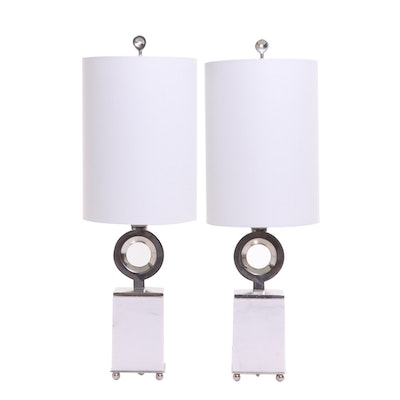 Modern Marbleized Table Lamps with Fabric Shades