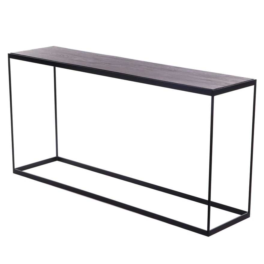 Rustic Style Console Table with Metal Base, Contemporary