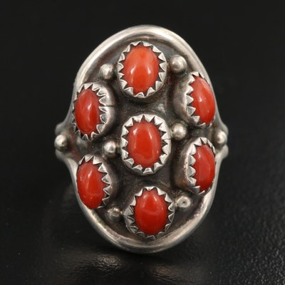 Western Signed Sterling Coral Cluster Ring