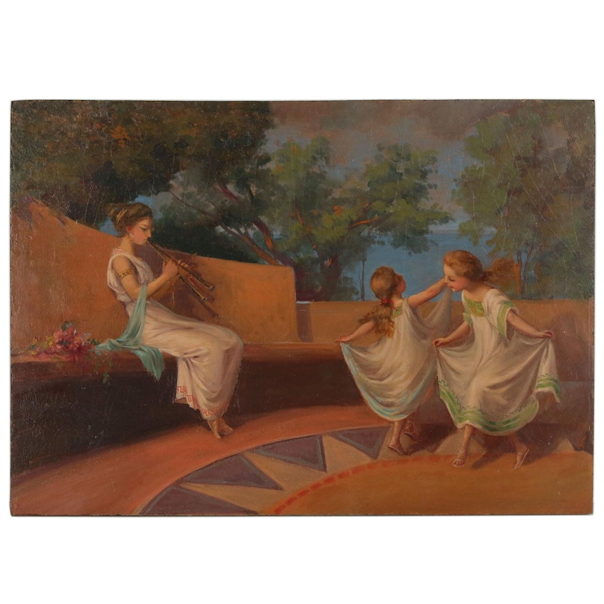 Oil Painting in the Style of Henry Siddons Mowbray of Musician and Dancers