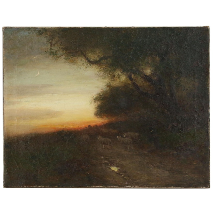 Landscape Oil Painting of Pastoral Scene of Herder with Sheep