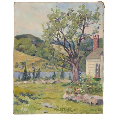 Landscape Oil Painting of Riverside House and Garden, Early 20th Century