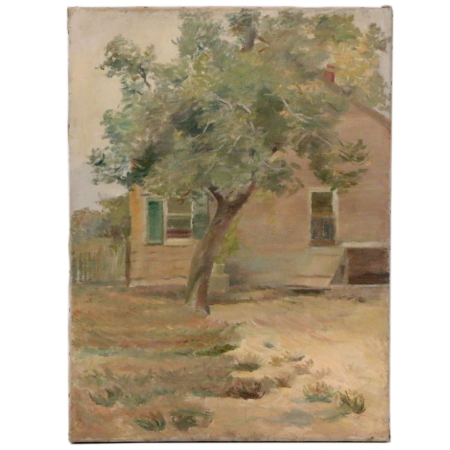 Oil Painting of House and Grounds