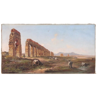 Aqua Marcia Ruins with Cattle Landscape Oil Painting, Late 19th Century