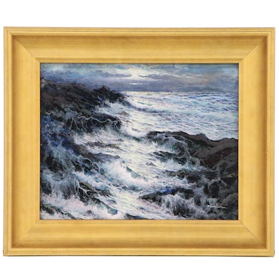 Stormy Seascape Oil Painting, 21st Century