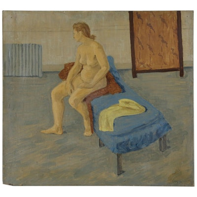Figurative Oil Painting of Seated Nude, Mid 20th Century