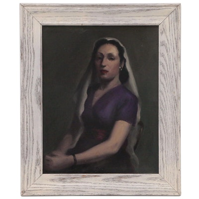 Oil Portrait of a Woman in Purple, Mid to Late 20th Century