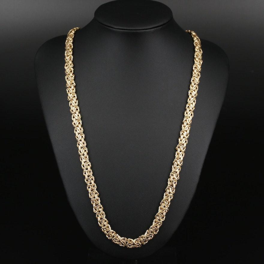 14K Flat Byzantine Chain Necklace
