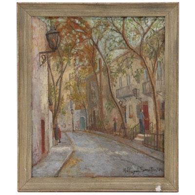 Hildegarde Hamilton Impressionist Style Street Scene, Mid 20th Century