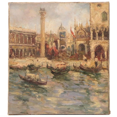 Impressionistic Oil Painting of Venetian Canal Scene