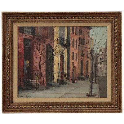 Annette Stieglitz Street Scene Oil Painting of Greenwich Village, Circa 1940