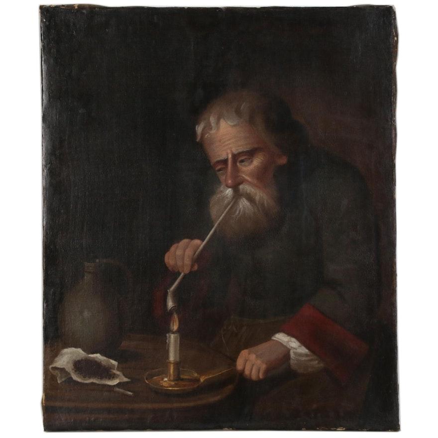 German School Oil Painting of Elderly Man Lighting a Pipe, 19th Century