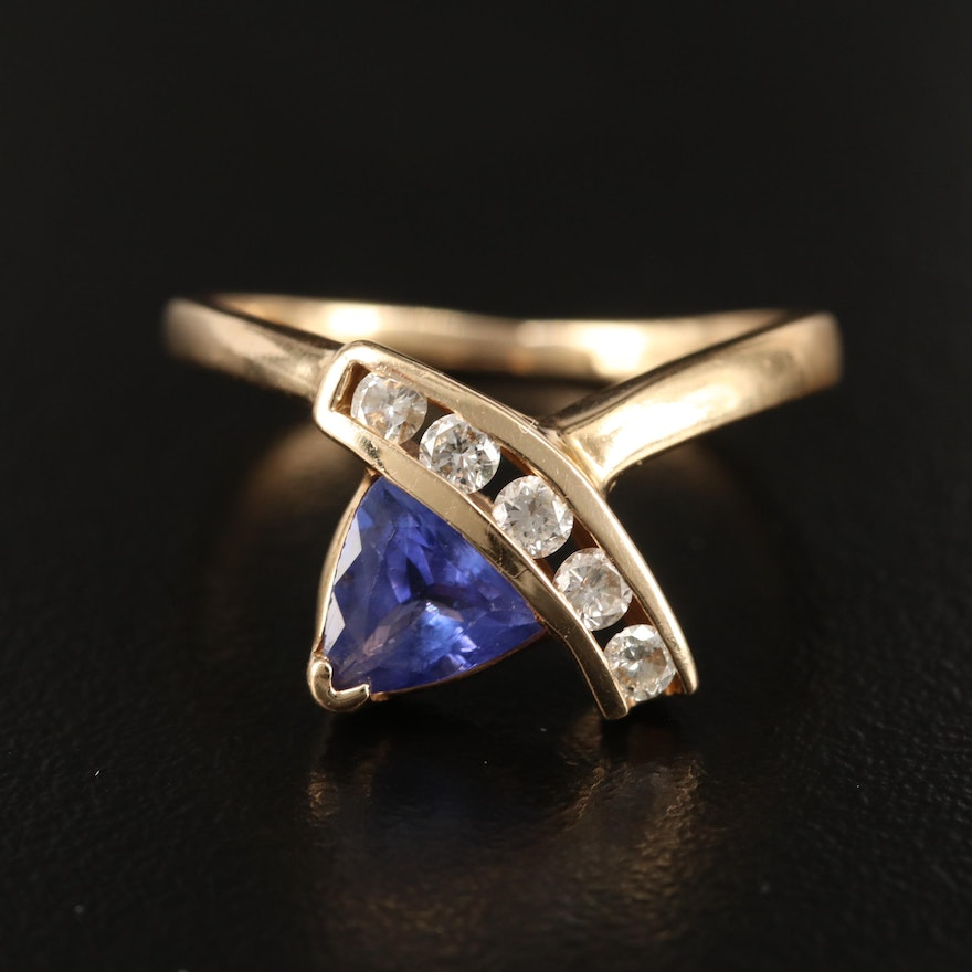 14K Tanzanite and Diamond Channel Asymmetrical Ring