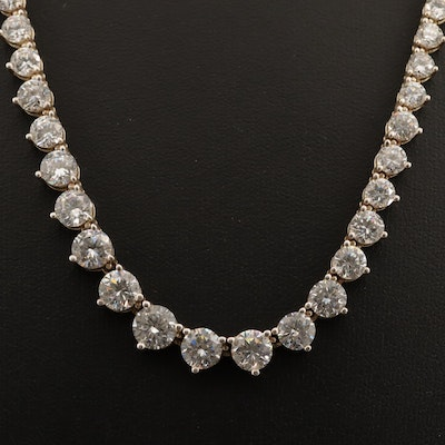 Sterling Silver Graduated Cubic Zirconia Link Necklace