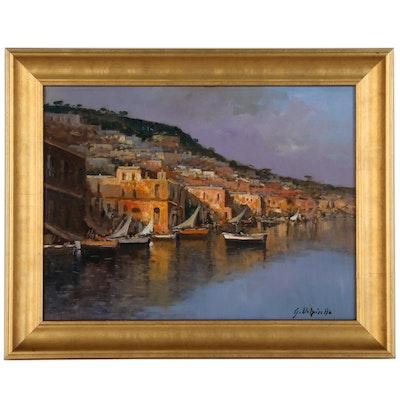 Italian Harbor Scene Oil Painting, 21st Century