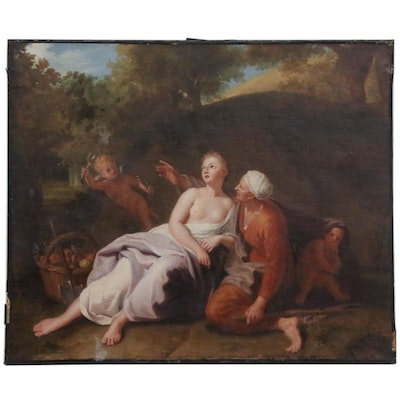 Allegorical Figurative Oil Painting, Late 18th to Early 19th Century