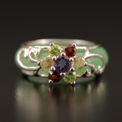 Sterling Silver Gemstone Ring Jacket with Jadeite Hololith Band